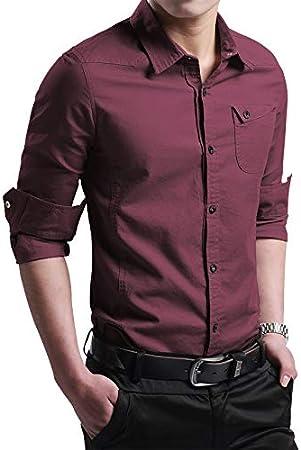 RSL Masculina Camisa de Manga Larga Coreana Delgada Camisa de algodón Ocasional y el algodón Terciopelo Joven Desgaste Externo Salvaje Tierra Suelta (Color : Red, Size : 4XL): Amazon.es: Hogar