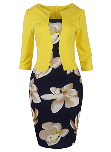 ROSE IN THE BOX 3/4 Sleeve Suits for Work Business Plus Size Church Pencil Dress,Yellow,3XL