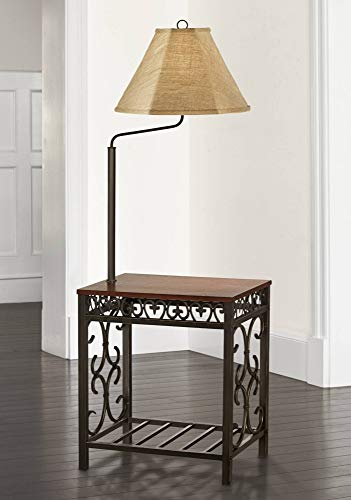 Wood Floor Tray Lamp - Travata Traditional Floor Lamp End Table Swing Arm Wood Bronze Burlap Fabric Empire Shade for Living Room Reading Bedroom - Regency Hill