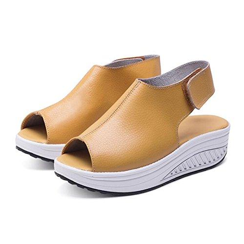 Les Talons Marche Pour Toe Plate Comfort Chaussures En Hibote Sandales Taille Compensées Femmes Wide Jaune Fit D'été De forme Cuir Peep n7TqXxqI4z