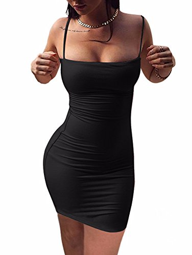 BEAGIMEG Womens Sexy Spaghetti Strap Sleeveless Bodycon Mini Club Dress, Black, Small, Black, Small