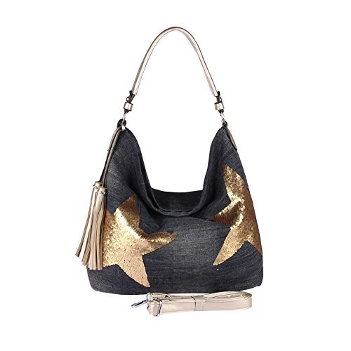 CrossOver Silver WxHxD sequin OBC XXL Star Shopper Bowling Cotton ital Gold design Ladies Rhinestones Bag 37x33x16 bag cm Canvas Handbag Gold Hobo sequin Black ca Silver Black Handle bag Rq4RfrxUw