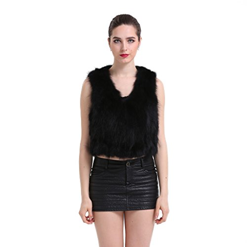 [Topfur Women's Black Vest Raccoon Fur Warm Gilet Fashion Waistcoat(US 12)] (Faux Chain Hooded Costumes)