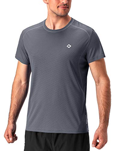 NAVISKIN Men's Quick Dry Workout Running Athletic Short Sleeve T-Shirt Outdoor Shirt Grey Size L