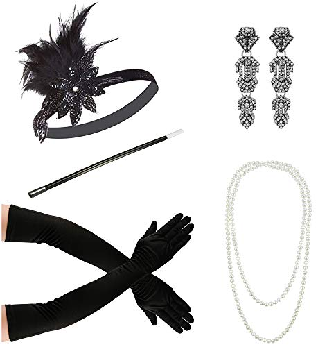 Zivyes 1920s Accessories Flapper Costume for Women Headpiece Cigarette Necklace Gloves (111A)