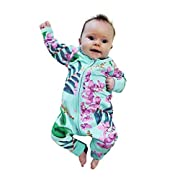 FEITONG Newborn Baby Boys Girls Floral Print Zipper Romper Jumpsuit Outfits Clothes