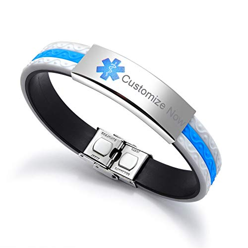 SL Custom Free Engraving Name Date Stainless Steel Silicone Autism Medical Alert Bracelet Allergy Awareness Rubber Wristband Bangle,Emergency SOS Life Saver for ()