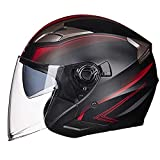 CPDZ Ventilation protection motorcycle helmet thermal insulation lined with double lenses motorbike helmet high-end atmospheric class helmet for men and women in general red,XL