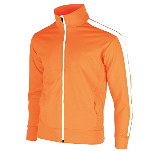 myglory77mall Men's Running Jogging Track Suit Warm Up Jacket Gym Training Wear (XXS US(S Asian Tag), Orange One line) -