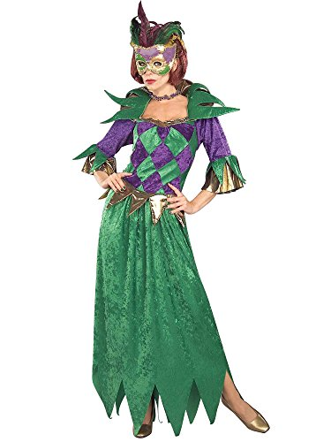 Forum Mardi Gras Madness Gown, Green/Gold/Purple, Adult Costume -