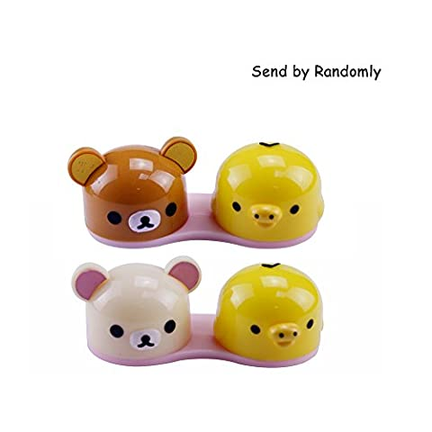 EYX Formula Mini Travel Simple Lovely Bear Contact Lens Case Box Container Holder Kit for Home or Travel (White Out Contact Lens)