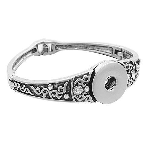 SONGBB Bracelet Bracelet Jewelry Carving Flower Snap Bangles Fit 18Mm Snap Button Bracelet for Women