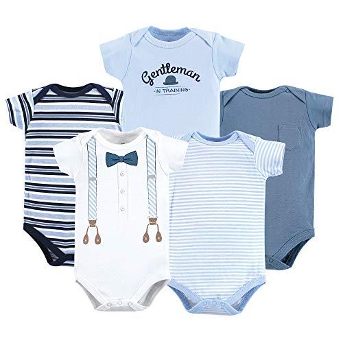 Little Treasure Unisex Baby Cotton Bodysuits, lt. Blue Suspenders 5-Pack Short-Sleeve, 18-24 Months (24M)