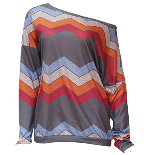 Sunhusing Ladies Colorful Geometric Wavy Stripe Print Long Sleeve Round Collar Off Shoulder T-Shirt -