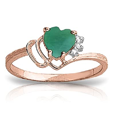 emerald heart genuine p ring gold claddagh shaped yellow