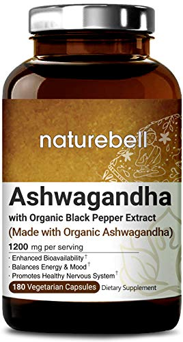 Maximum Strength Organic Ashwagandha 1,200 mg, 180 Veg Capsules with Black Pepper Extract, Powerfully Supports Healthy Nervous System and Mood, Non-GMO, Vegan Friendly and Made in USA