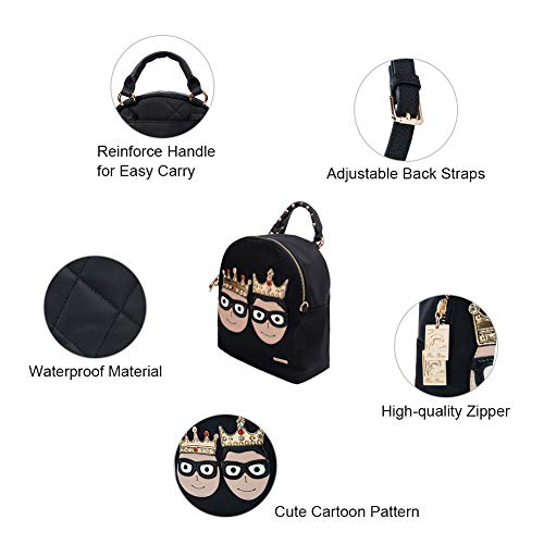 for Fashion Purse Women's Travel School Cute Bags Leather Small RenDian Backpack Mini Shoulder Anti Theft Leisure�� Black dqRPnXw