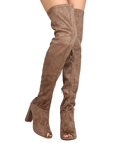 Wild Diva GA42 Women Faux Suede Peep Toe Thigh High Chunky Heel Boot - Taupe (Size: (Taupe High Heel Peep Toe)