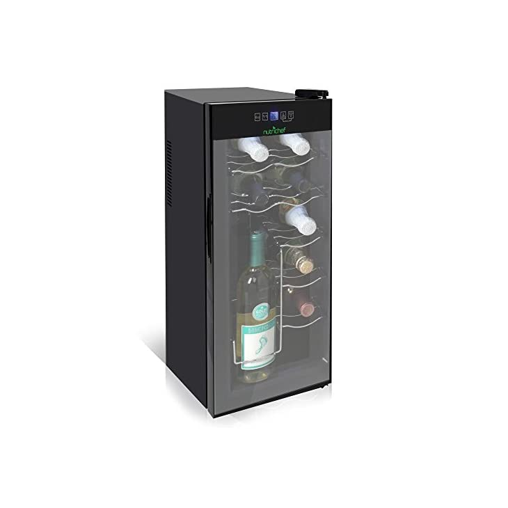 NutriChef Wine Cooler PKTEWC80 Electric Chilling 8 Bottle, Silver