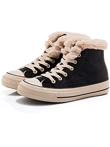 JUSTFASHIONNOW Womens Girl Canvas Shoes Lace-Up Suede Sneaker Hight Top Fashion Walking Shoes Platform Warm Round Toe Comfy Ankle Snow Boots - Black 40