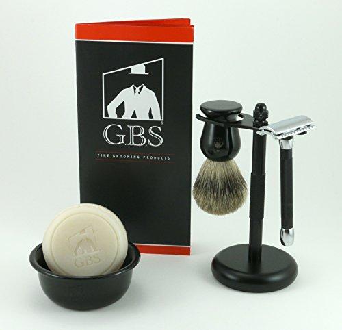 h Merkur Safety Razor, Bowl, GBS Shaving Soap,badger Brush, Stand Brush and Razor ()