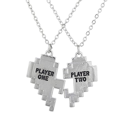 Lux Accessories Silver Tone Player 1 2 Gamer BFF Broken Heart Matching Necklace Set of 2