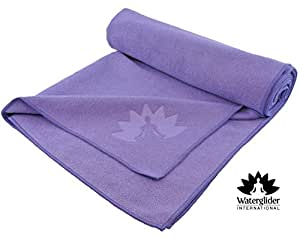 Yoga Towel by Waterglider: 100% Microfiber, Mat-size Length (Lilac)