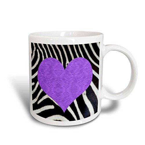 Purple Zebra Stripe - 3dRose Punk Rockabilly Zebra Animal Stripe Purple Heart Print Ceramic Mug, 11-Ounce