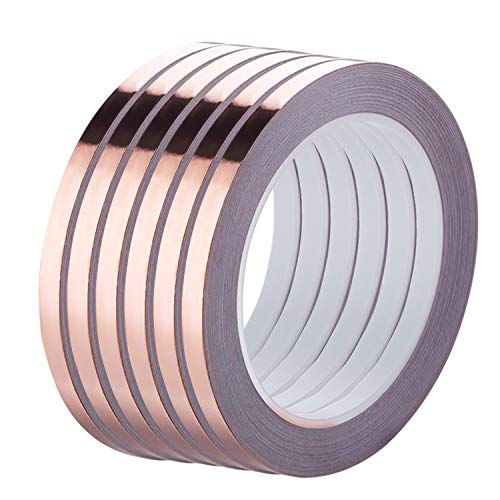 Copper Tape, PEMOTech [6 Rolls] Copper Foil Tape with Conductive Adhesive (1/4inch X 21.8yard) for EMI Shielding, Snail Repellent, Electrical Repair, Stained Glass, Paper Circuit, Soldering