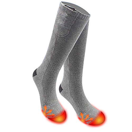 Alritz Battery Heated Socks Men Women, 7.4V Winter Rechargeable Electric Heated Boot Socks Thermal Stockings for Chronically Cold Feet, Hiking, Hunting, Skiing