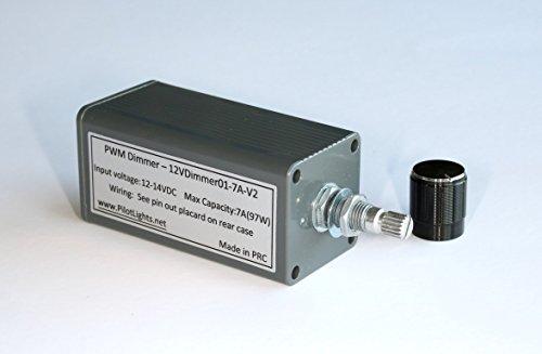 12 VDC LED Dimmer PWM DC Lighting Dimmer Controller for LED Incandescent Auto RV Marine Aircraft Interior Lighting - 12V