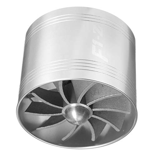 Viviance Universal Single Supercharger Turbine Turbocharger Air Intake Fan Fuel Gas Saver - Silver: