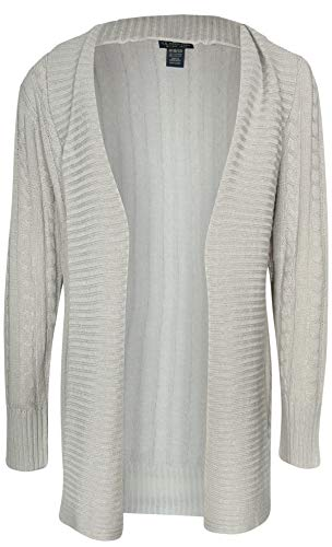 U.S. Polo Assn. Girl\'s Cable Knit Ribbed Cardigan Sweater, Heather Grey, Size 6X'