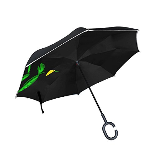 TIANYUSS Double Layer Inverted White Dove Olive Branch Pigeon Freedom Flying Umbrellas Reverse Folding Umbrella Windproof Uv Protection Big Straight Umbrella For Car Rain Outdoor With C-shaped Handle by TIANYUSS