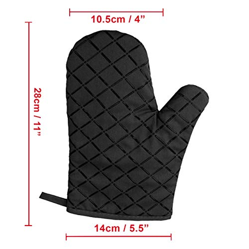 Silicone Oven Mitts with Thick Cotton Lining, 11\