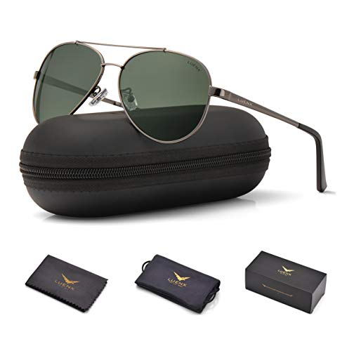 LUENX Men Women Aviator Sunglasses Polarized Grey Green Lens Gun Metal Frame with Accessories UV 400 ()
