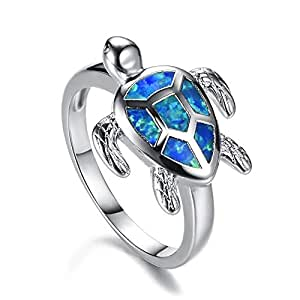 Health and Longevity Sea Turtle Birthstone Jewelry Sterling Silver Created Blue Opal Sea Turtle Earring Rings Pendant Necklace Length 18-20 inch (Blue Opal Rings 10#)