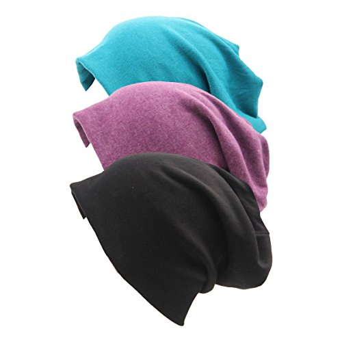 Women Men Stylish Thin Hip-hop Soft Stretch Knit Slouchy Beanie Hat Skull Cap 3 Pack by Slivery Color