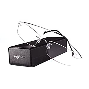Agstum Pure Titanium Rimless Frame Prescription Hingeless Eyeglasses Rx (Silver, 55)