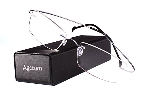 Agstum Pure Titanium Rimless Frame Prescription Hingeless Eyeglasses Rx (Silver, - Rimless Eyeglass