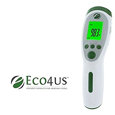Eco4us - Non-Contact Infrared Talking Thermometer, Large Backlit LCD Display, Announces Temperature in 3 Languages. Reads Body, Surface, & Room Temperatures