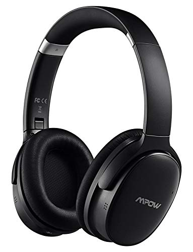 Mpow H10 [Upgrade] Hybrid Active Noise Cancelling Bluetooth Headphones, Over-Ear Wireless Headphones with Hi-Fi Deep Bass, CVC 6.0 Microphone, Soft Protein Ear Pads for PC/Phones