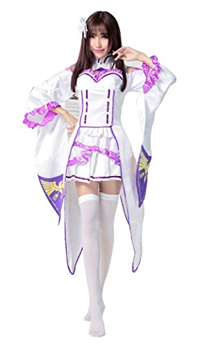 TOKYO-T Re Zero Emilia Cosplay Costume Japanese Anime Headwear Tights Set (US4-6)