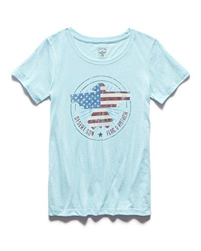Flag & Anthem x Desert Son by Dierks Bentley - Women's Freedom Riser Short Sleeve T-Shirt - Slim-Fit Basic Light Blue T-Shirt - Large