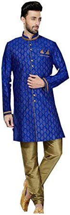 PinkCityCreations Mens Kurta Pajama Wedding Art Dupion Light Gold Printed India Party Wear Set