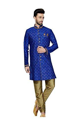 IT Mens Kurta Pajama Wedding Printed Art Dupion Royal Blue Printed India by Da Facioun