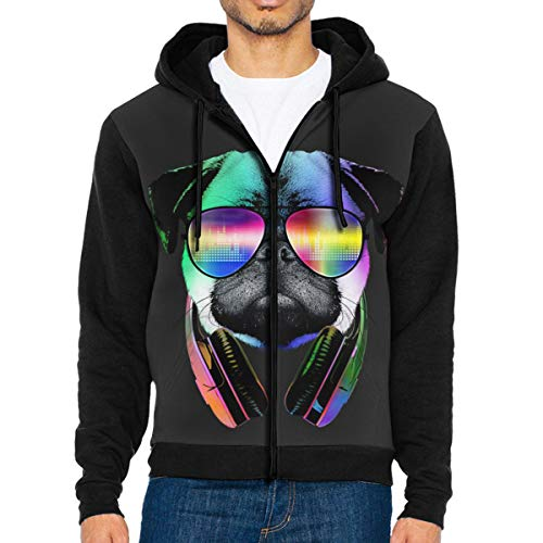 - Mens Cool Pug Fashion Hoodies Stylish Jacket Print Zipper Sweatshirts Jumper Black