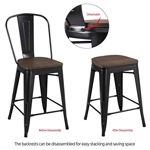 Farmhouse Barstools Yaheetech 24Inch Seat Height Tolix Style Dining Stools Chairs with Wood Seat/Top and High Backrest, Industrial Metal… farmhouse barstools