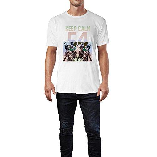 SINUS ART® Palmen mit buntem Hintergrund – Keep Calm Herren T-Shirts in Weiss Fun Shirt mit tollen Aufdruck