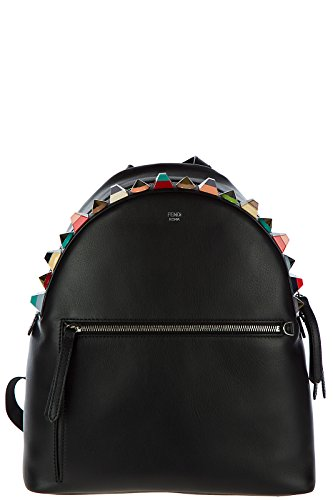 Fendi women's leather rucksack backpack travel black by Fendi